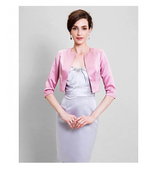 Women's Wrap Shrugs Half-Sleeve Satin Candy Pink Wedding / Party/Evening