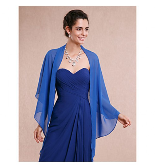 Women's Wrap Shawls Sleeveless Chiffon Royal Blue Wedding / Party/Evening