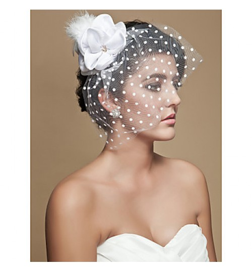 Wedding Veil One-tier Blusher Veils / Birdcage Veils Cut Edge 11.81 in (30cm) Tulle