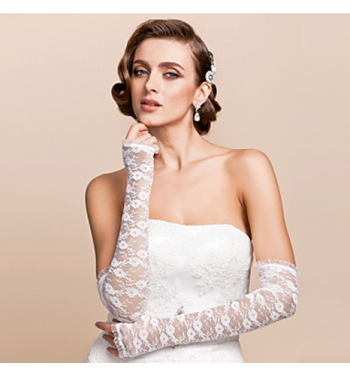 Opera Length Half Finger Glove Lace Bridal Gloves Spring / Summer / Fall Embroidery