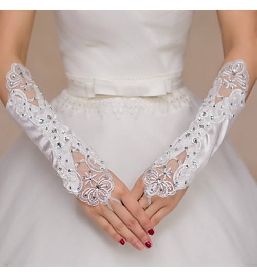 Elbow Length Fingerless Glove Satin / Lace Bridal Gloves / Party/ Evening Gloves Embroidery / Rhinestone
