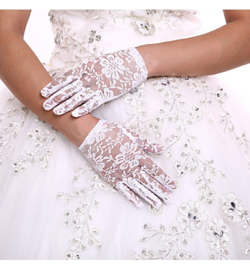 Delicate Lace Wrist Length Fingertips Flower Girl's Gloves Kids Children's Glove+DIY Pearls and Rhinestones